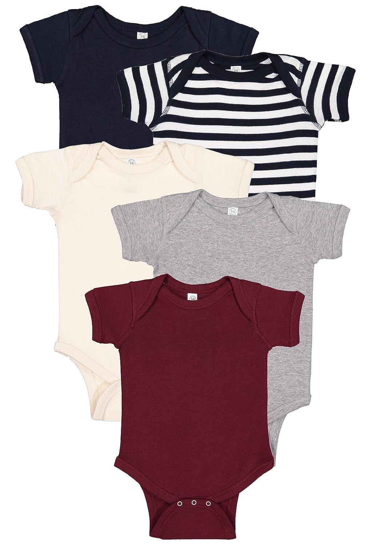 5727904b95ac Amazon.com: Rabbit Skins 5 Pack 4400 Mulitcolor 100% Cotton Infant Baby Rib  Bodysuit: Clothing