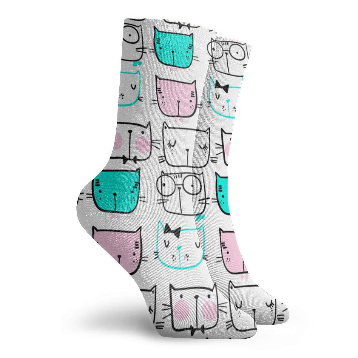 Hand Drawn Cat Unisex Funny Casual Crew Socks Athletic Socks For Boys Girls Kids Teenagers