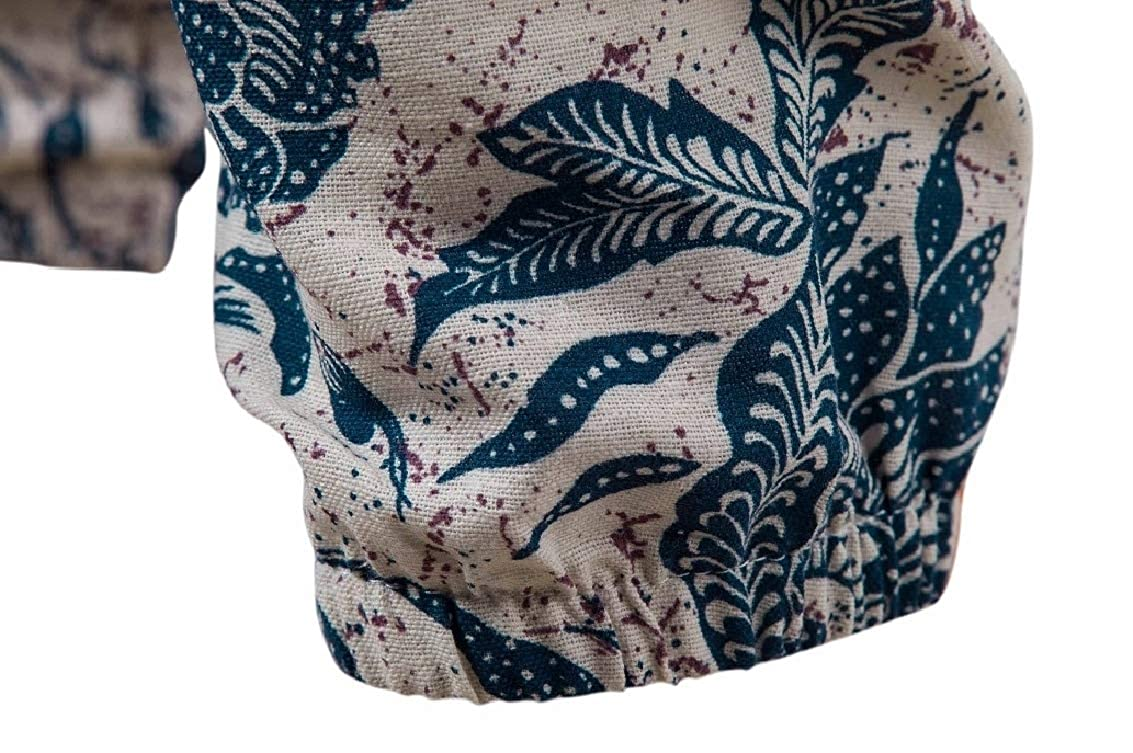 Freely Mens Linen Loose Ethnic Style Print Plus Size Harem Casual Pants
