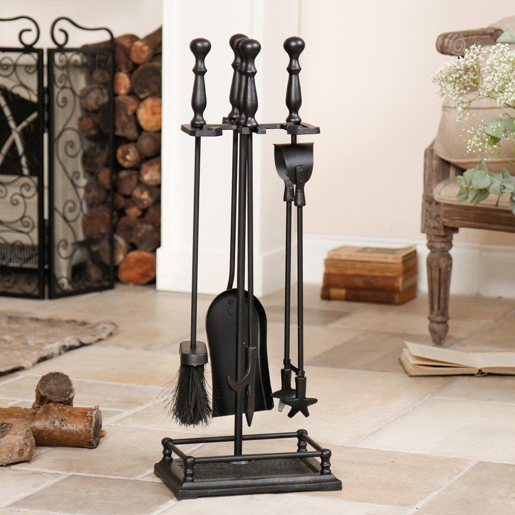 Juego de accesorios para chimenea de hierro fundido, 5 unidades, color negro: Amazon.es: Bricolaje y herramientas