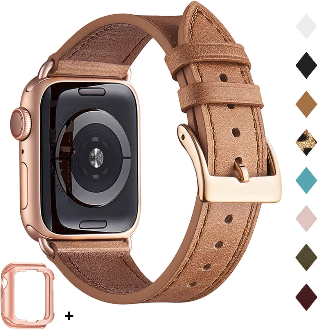 Bestig Band Compatible for Apple Watch 38mm 40mm 42mm 44mm, Genuine Leather Replacement Strap for iWatch Series 6 SE 5 4 3 2 1, Sports & Edition (Saddle Brown Band+Rose Gold Adapter, 42mm 44mm)