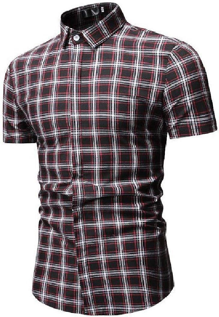 Mfasica Mens Bussiness Silm Fit Plaid Short Sleeve Peaked Collar Shirt