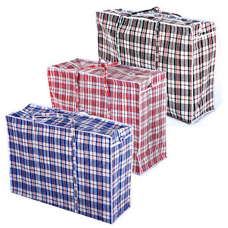 24 X NEW JUMBO LAUNDRY SHOPPING BAG REUSABLE STORAGE LUGGAGE SACK ZIP PVC BAGS