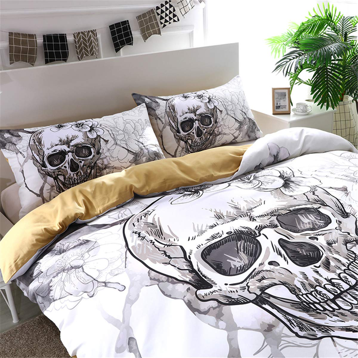 2Pcs, Twins Sugar Skull Duvet Cover Twin Skeleton Floral Skull Pattern Printed Bedding Set Microfiber Ghost Comforter Cover with Zipper for Teens Boys Adults