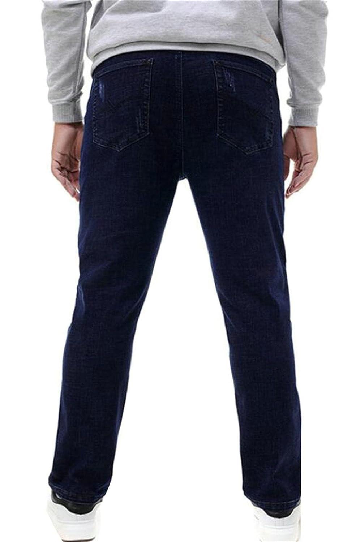 BYWX-Men Slim Fit Solid Pocket Elastic Waist Jeans Denim Pants