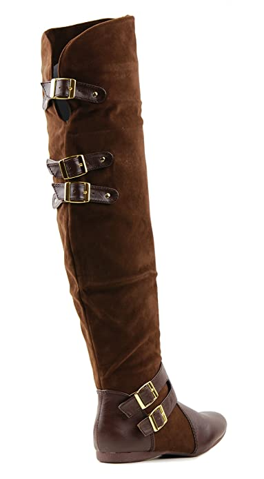 Amazon.com | Jazz Womens Over The Knee Flat Boots (6, Brown ...