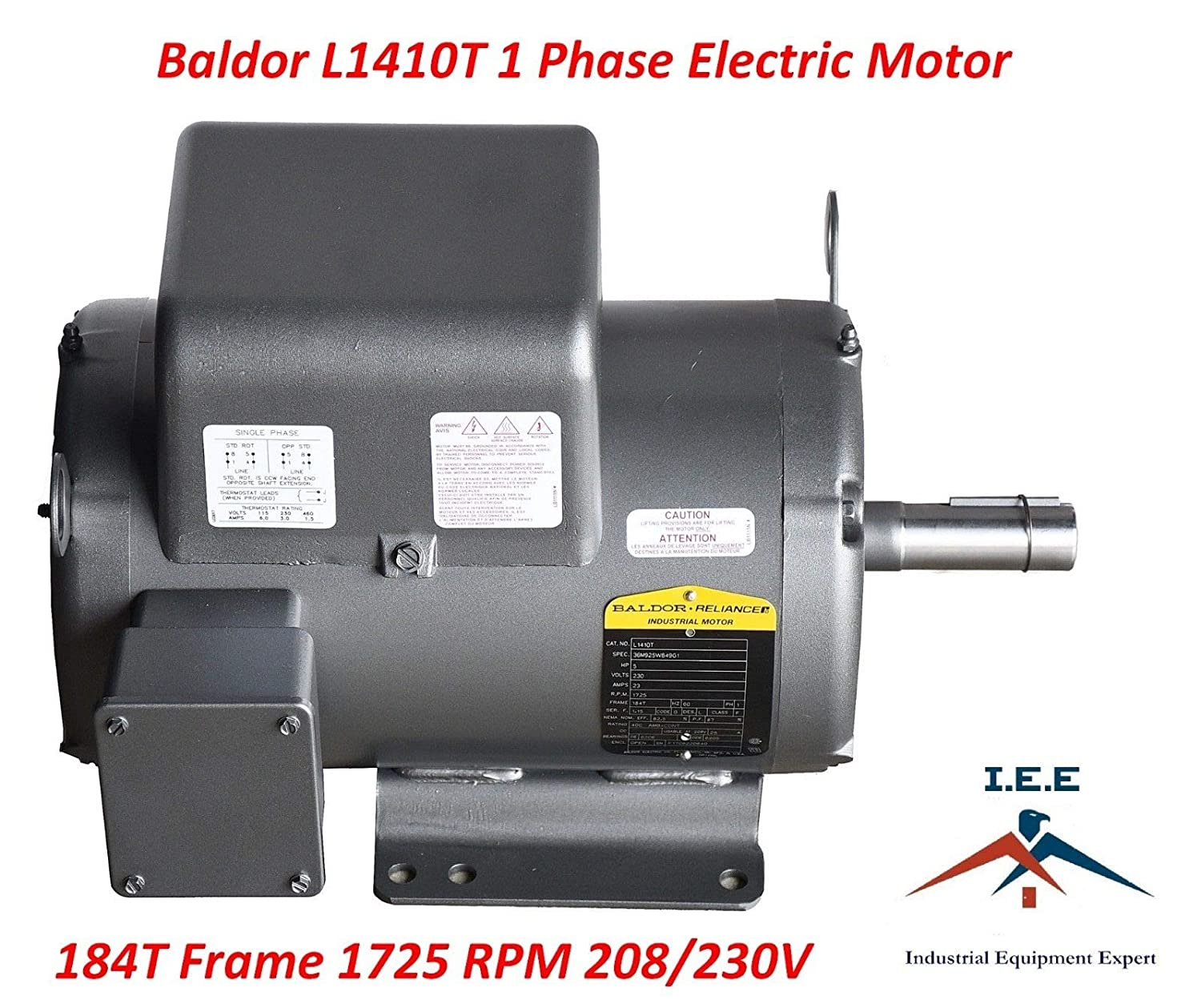 5 HP Single Phase Baldor Electric Compressor Motor 184T Frame ... Baldor T Motor Single Phase Compressor Wiring Diagram on baldor ac motor diagrams, 2 phase transformer diagrams, baldor vfd wiring-diagram, l1410t baldor electric motors wiring diagrams, air compressor 12 volt light wiring diagrams, baldor motor parts manual, capacitor start motor diagrams, single phase capacitor motor diagrams, spaguts spa to 220v wiring diagrams, baldor electric motor parts diagrams, boat lift switch diagrams, motor connections diagrams,
