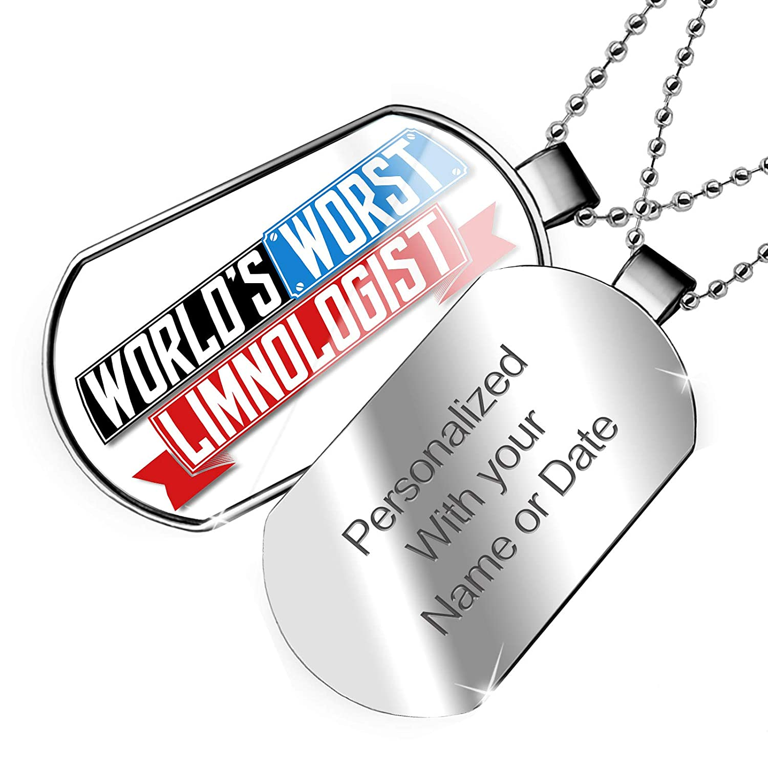 NEONBLOND Personalized Name Engraved Funny Worlds Worst Limnologist Dogtag Necklace