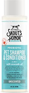 SKOUT'S HONOR: Probiotic Pet Shampoo & Conditioner - 2-in-1 with Avocado Oil - Cleans and Conditions Fur, Supports Pet's Natural Defenses, PH-Balanced, Sulfate Free