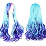 """AneShe 28"""" Gradient Wig Long Curly Synthetic Hair Cosplay Party Wig (Blue Mixed Pink)"""