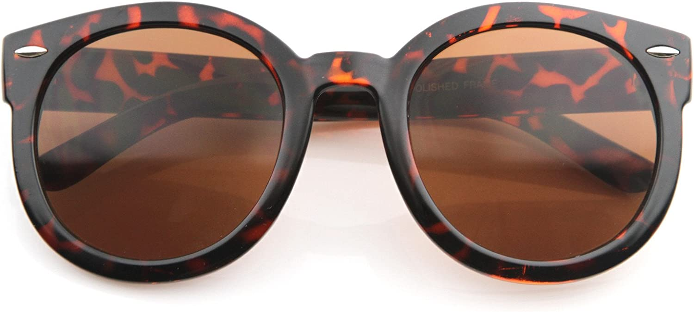 MLC EYEWEAR Fashion Vintage Round Thick Horn Style Sunglasses-tortoise Brown