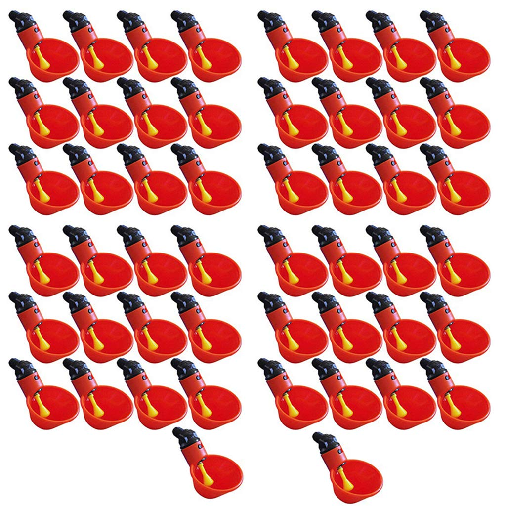 Happaiersouty 50pcs Automatic Chicken Waterer Cups,Plastic Backyards Chicken Water Feeder,Poultry Water Drinking Cups Bowls,Float Style Gravity Feed Waterers by Happaiersouty