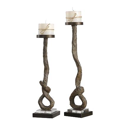 Amazoncom Rustic Wood Swirl Tall Pillar Candle Holder Set
