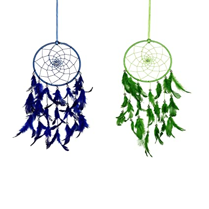 ILU Dreamcatcher Wall Hanging Handmade Beaded Circular Net Decoration Ornament Combo of 2 Size 16 cm Diameter (Blue & Green)