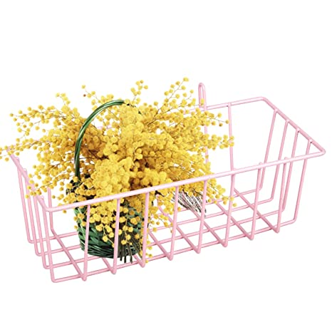 Lomofi Hanging Basket For Wire Wall Grid Panel Multi Function Wall Storage And Display Basket Size 9 X 4 X 3 Pink