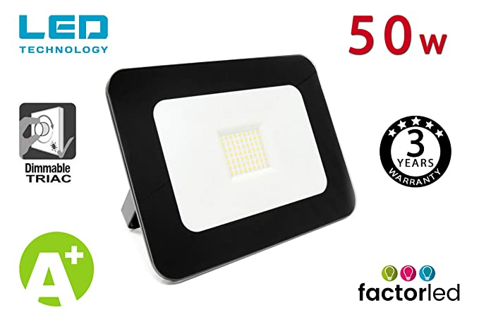 FactorLED Foco Proyector Exterior LED Luxury 50W Negro Iluminación ...
