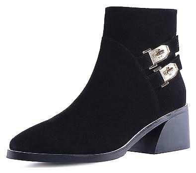 Unm Womens Trendy Inside Zip Up Round Toe Short Boots High Heel Dress Ankle Booties with Zipper