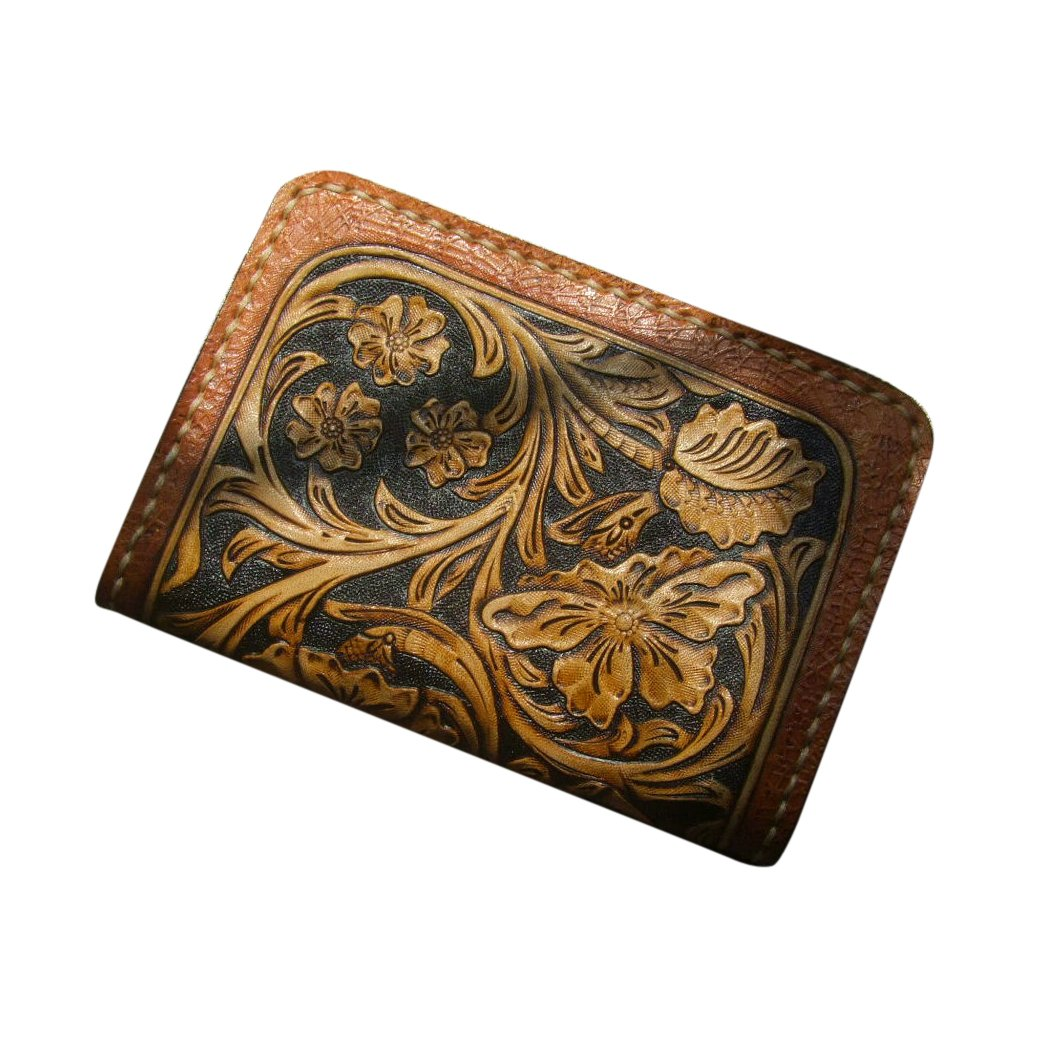 GPUFashion Handmade Leather Craft Wallet Brown Carved with Khaki Tang Dynasty flower Design