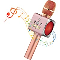 Microphone Sans Fil Karaoké Portable Bluetooth avec 2 Haut-Parleur Bluetooth Intégré,4 en 1 Pour Android & iOS,Karaoké Pour Chanter à La Maison, KTV, Anniversaire de Fête, Enregistrement (Rose)