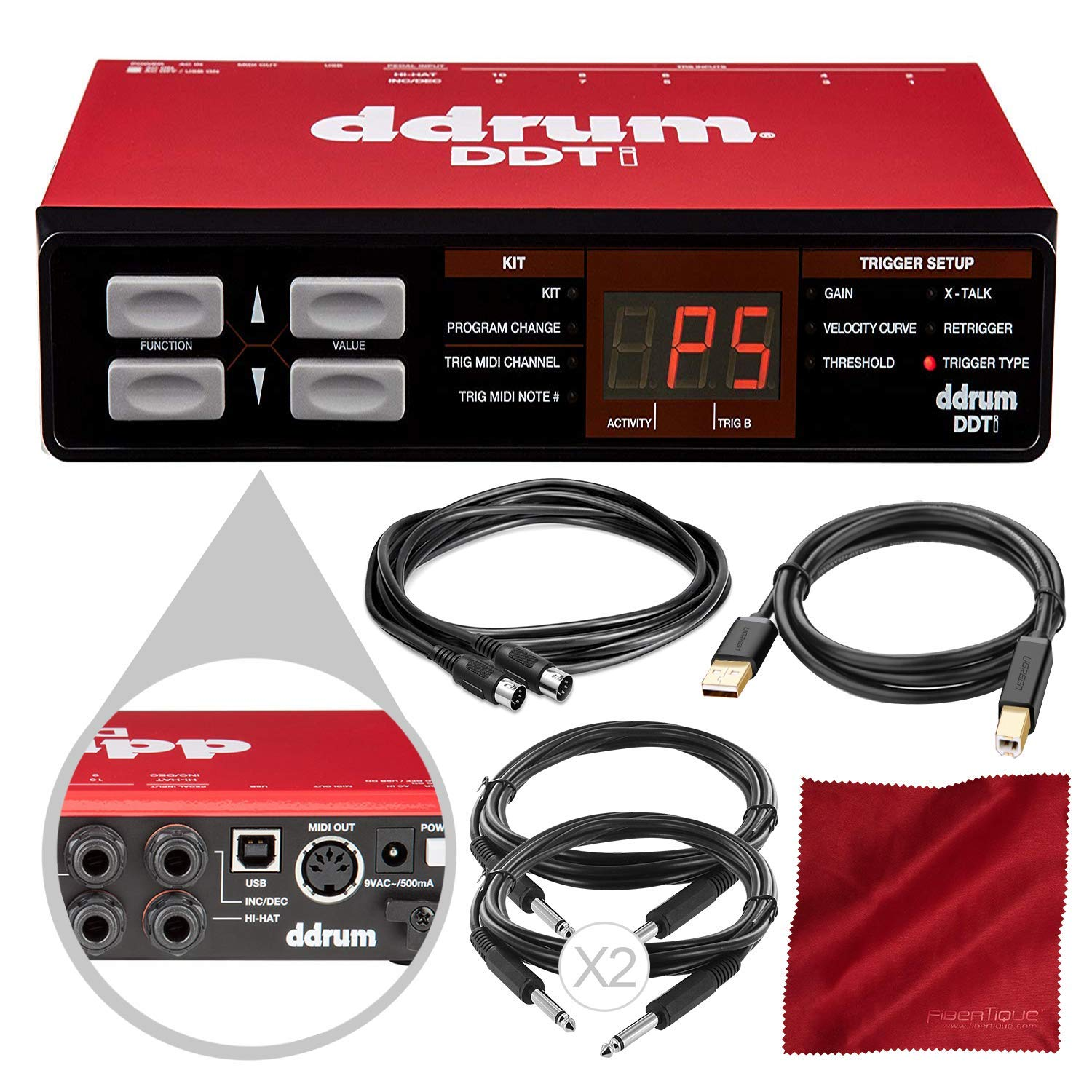 ddrum DDTi Drum Pad and Trigger Interface with Assorted Cables Accessory Bundle by Ddrum
