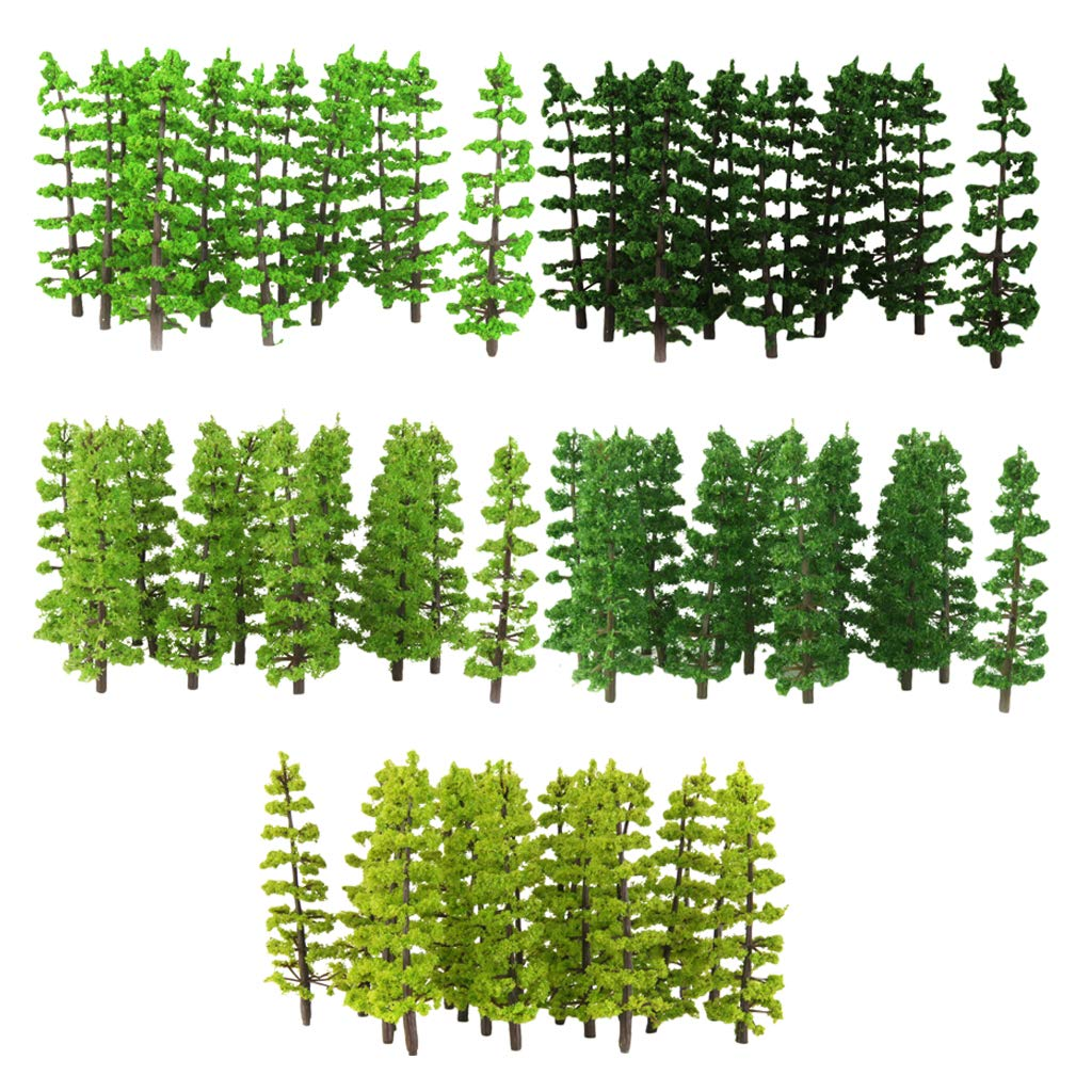 D DOLITY 100x Greenery Scene Building Fir Tree Models 9cm Height HO 1/100 Accessories