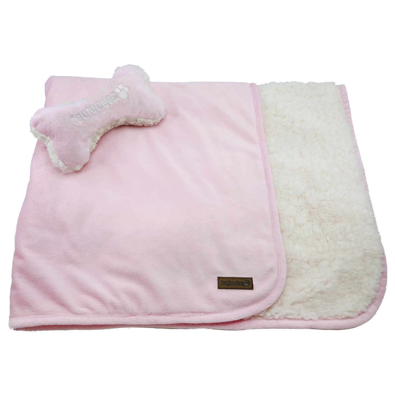 FouFou Dog Luxe Sherpa Puppy Blanket Set with Bone Pillow, Baby Pink