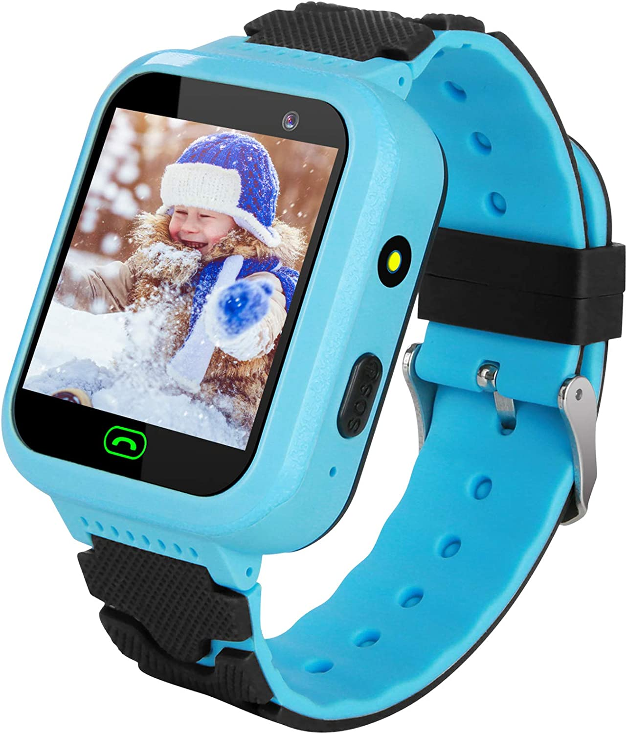 Kids Smartwatch with GPS Tracker, Touchscreen Smartwatch with SOS Anti-Lost Remote Camera Flashlight Learning Game Watch Wrist Smart Watch for Christmas Birthday Gifts for 4-12 Years Boys Girls (Blue)