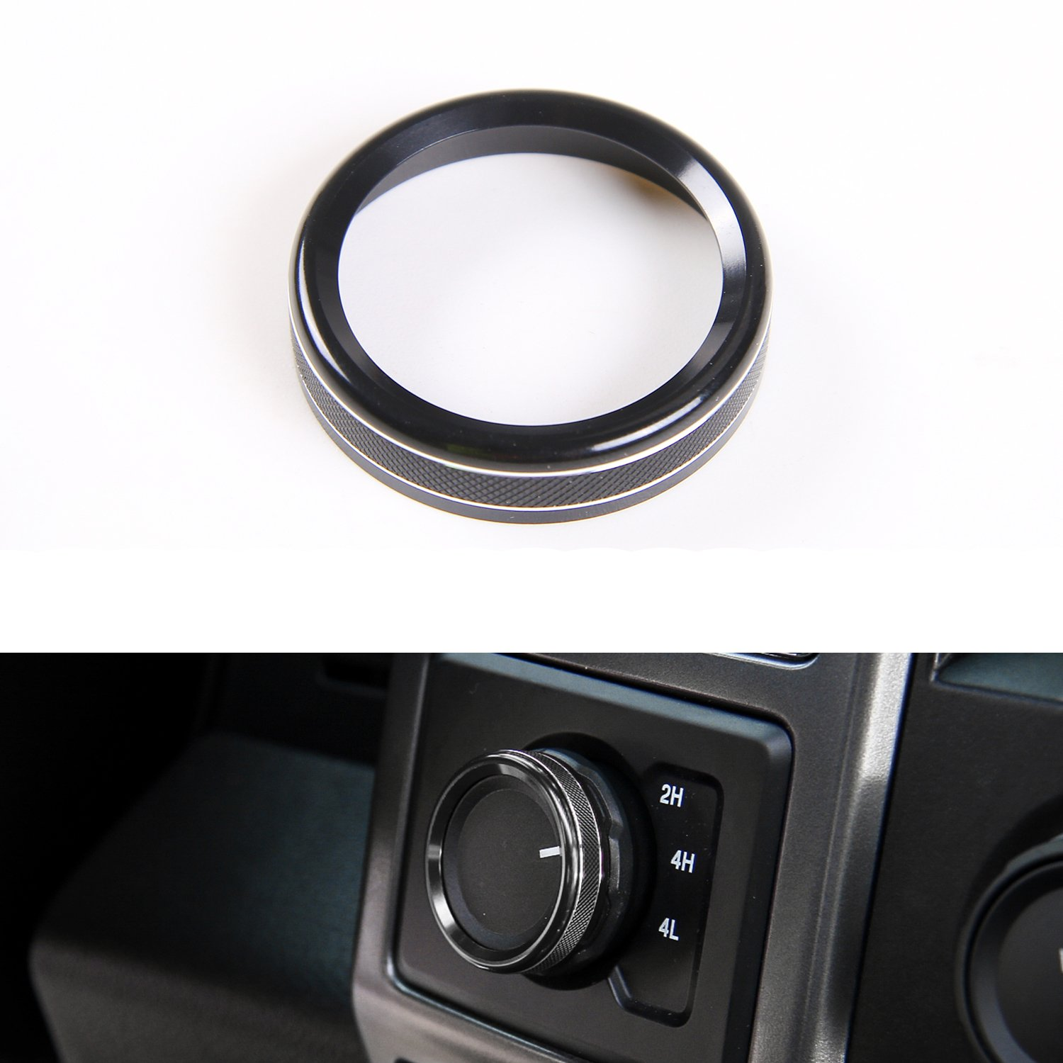 Black Four-Wheel Drive 4WD Mode Conversion Switch Ring Cover for Ford F150 2016 2017 Interior Trim Accessories