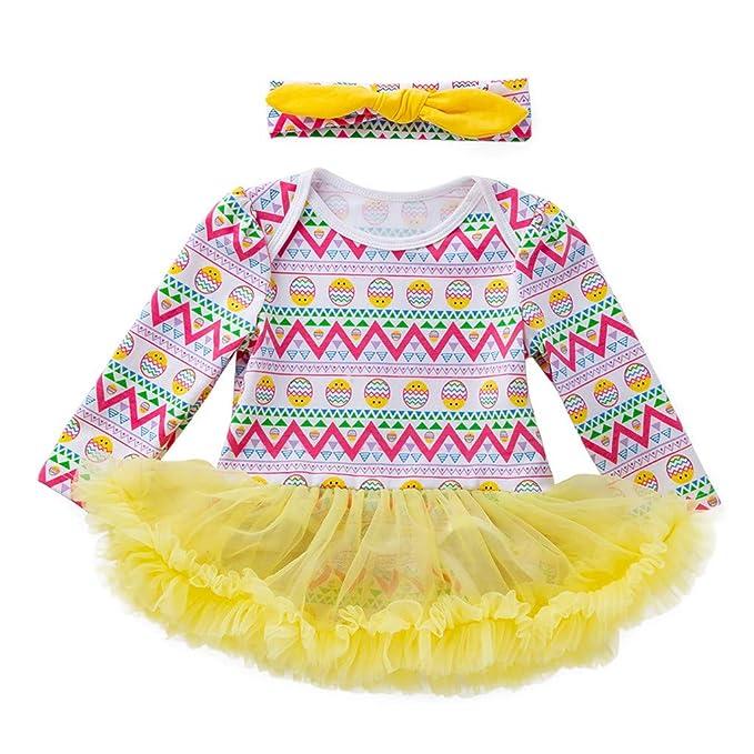 fb14bde7b Mitlfuny Pascua Huevo Mameluco princesa Vestidos Primavera Verano Bebé Ropa  para Niña Manga Larga Tul Cosiendo
