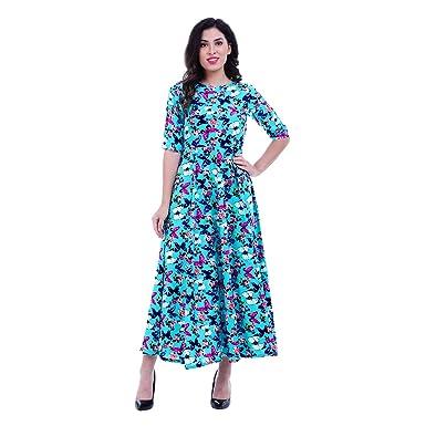 ROZVEH Women s Blue Butterfly Print Designer Maxi Dress  Amazon.in ... b72eeb3483