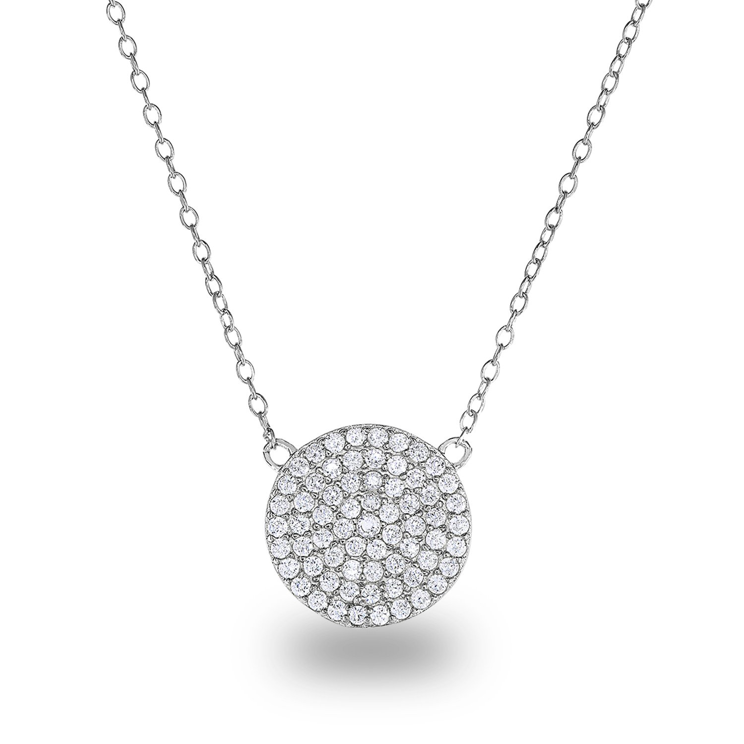 Rhodium Plated Sterling Silver Cubic Zirconia Pave Disc Circle Chain Necklace,18'' Diameter:12mm