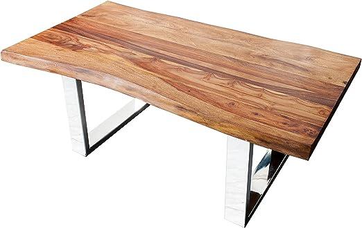 macizo de tronco mesa Living Edge Sheesham madera Estructura de ...
