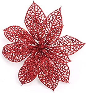 Crazy Night (Pack of 10 Glitter Red Poinsettia Christmas Tree Ornaments (Red)