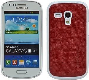 Suncase Leather Case - Carcasa para Samsung Galaxy S3 Mini, rojo y blanco