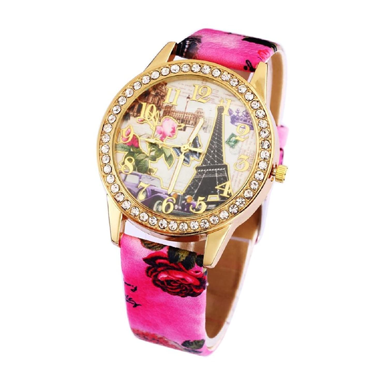 Tonseeレディースヴィンテージカジュアルパリエッフェル塔クォーツクリスタル腕時計,レッド B01JG0XDPI