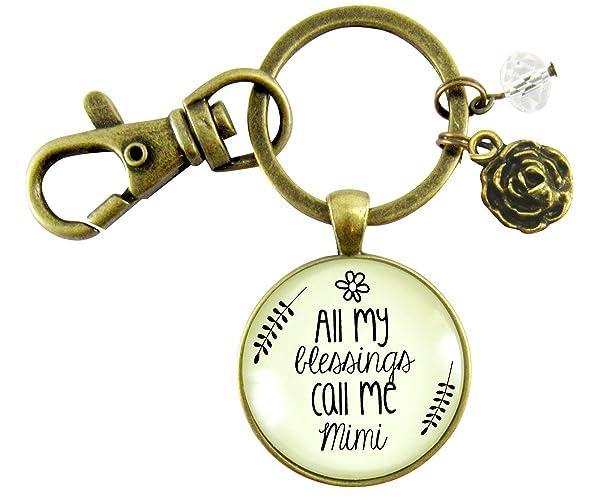 Amazon.com  Mimi Keychain All My Blessings Call Me Mimi Gift Quote Womens  Grandma Jewelry Blessed Life Card Flower Charm  Handmade 7ba514b0e4