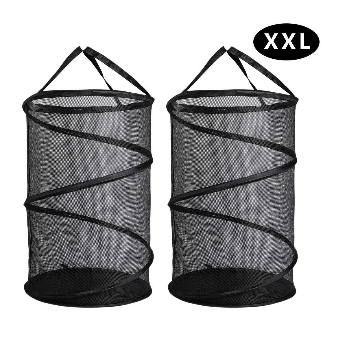 ganamoda Collapsible Spiral Pop-up Mesh Hamper - Thicken to Avert Fissuration,Reinforced Carry Handles and Nylon Bottomand,for The Occasions of Home,Laundry Room,Travel,ect.Black 2PACK