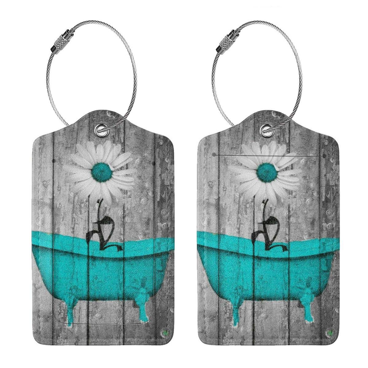 Turquoise Gray Country Daisy Flower Bathtub Luggage Tag Label Travel Bag Label With Privacy Cover Luggage Tag Leather Personalized Suitcase Tag Travel Accessories