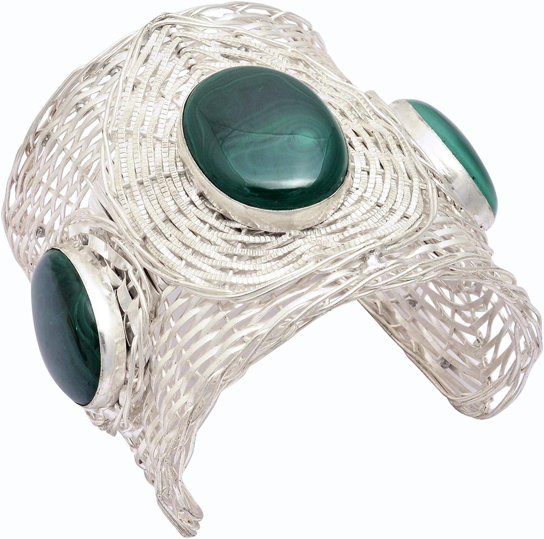Jaipur Handicrafts - Pulsera con piedra de malaquita ovalada chapada en plata