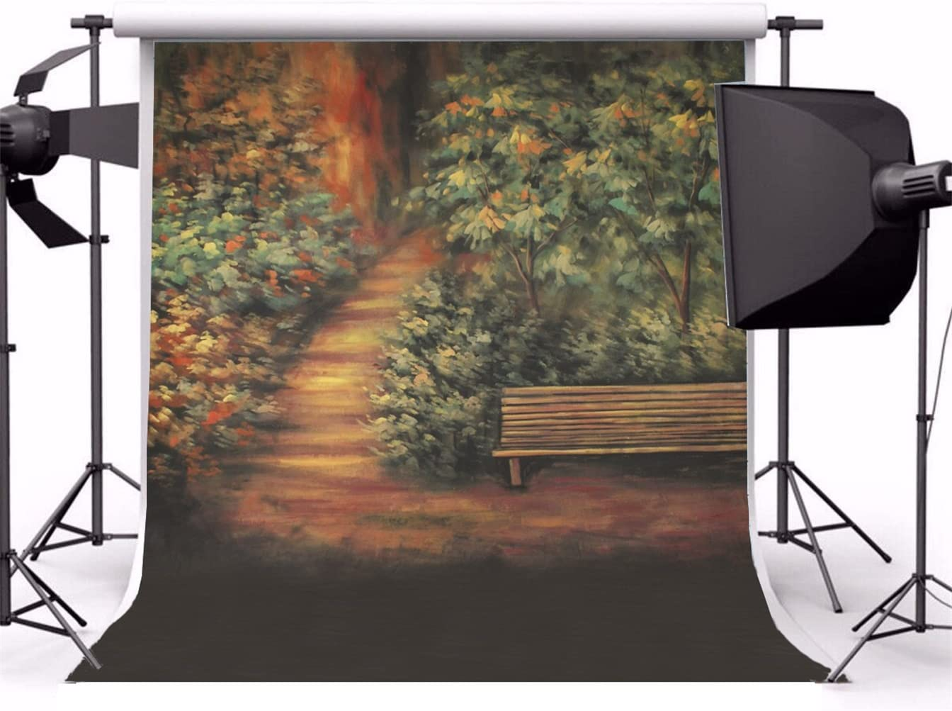 AOFOTO 10x10ft Oil Painting Backdrop Photography Background Blurry Trees Hazy Park Path Bench Toddler Adult Girl Boy Portrait Scene Artistic Photo Shoot Studio Props Video