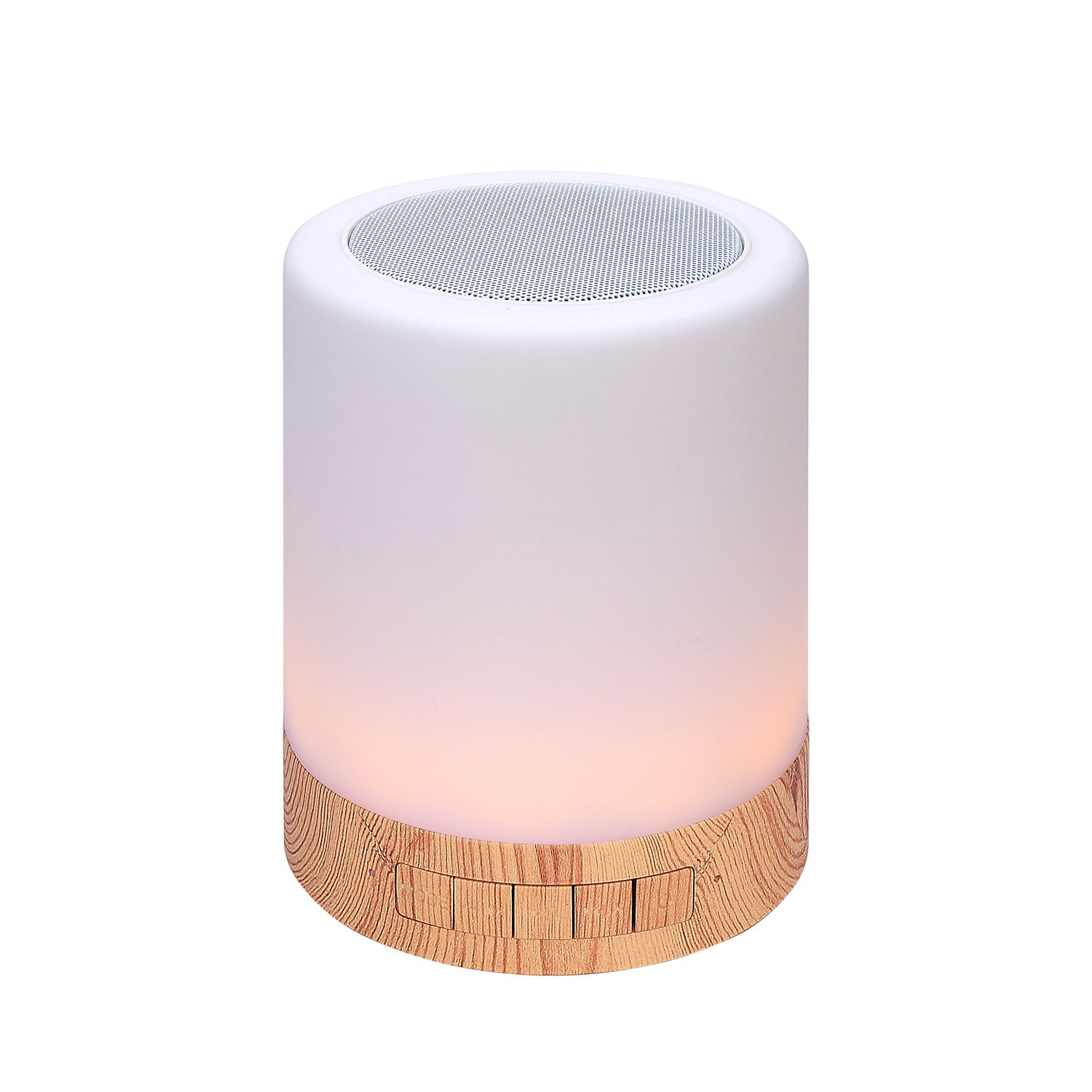 Illuminating Table Lamp with Bluetooth Speaker – Perfect for Bedside Night Stand, Desk or Table – Six Color LED Light with Touch Control – Audio Speaker - Faux Wood Base