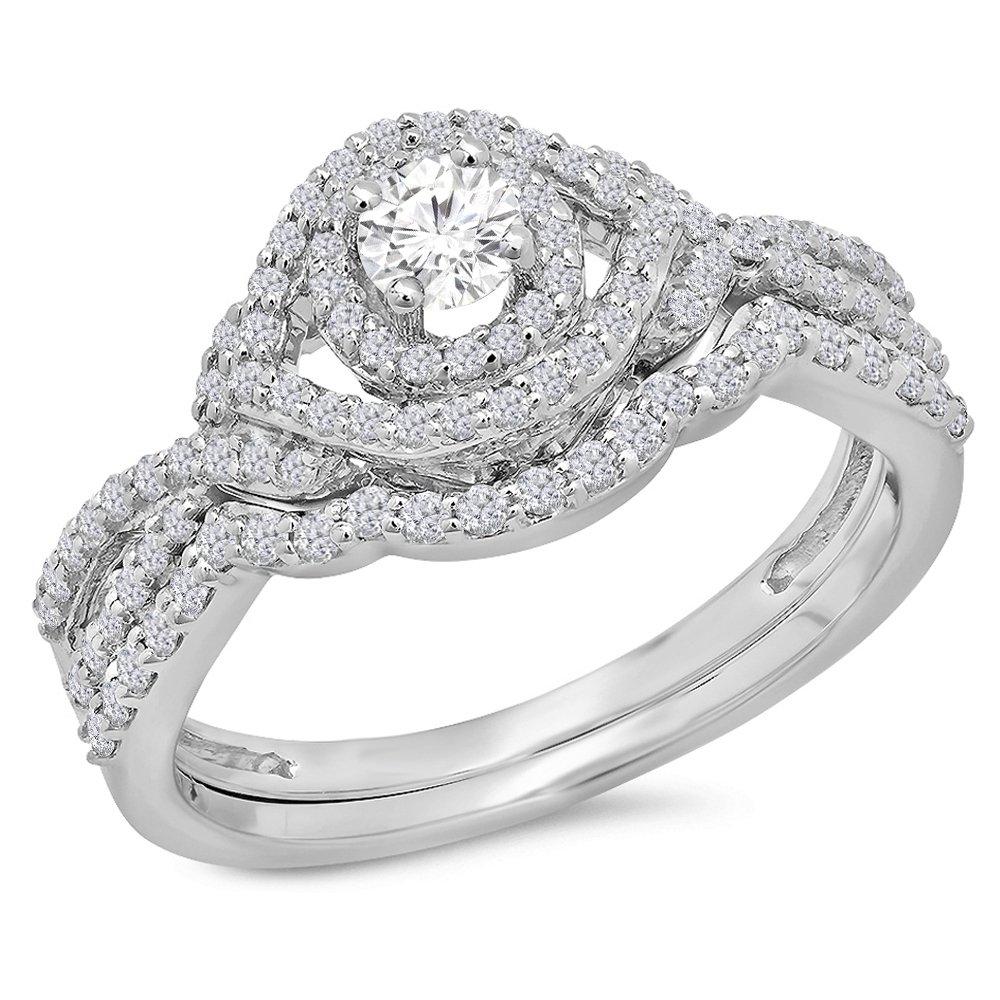0.75 Carat (Ctw) 14K White Gold White Diamond Ladies Bridal Halo Engagement Ring Set 3/4 CT (Size 7)