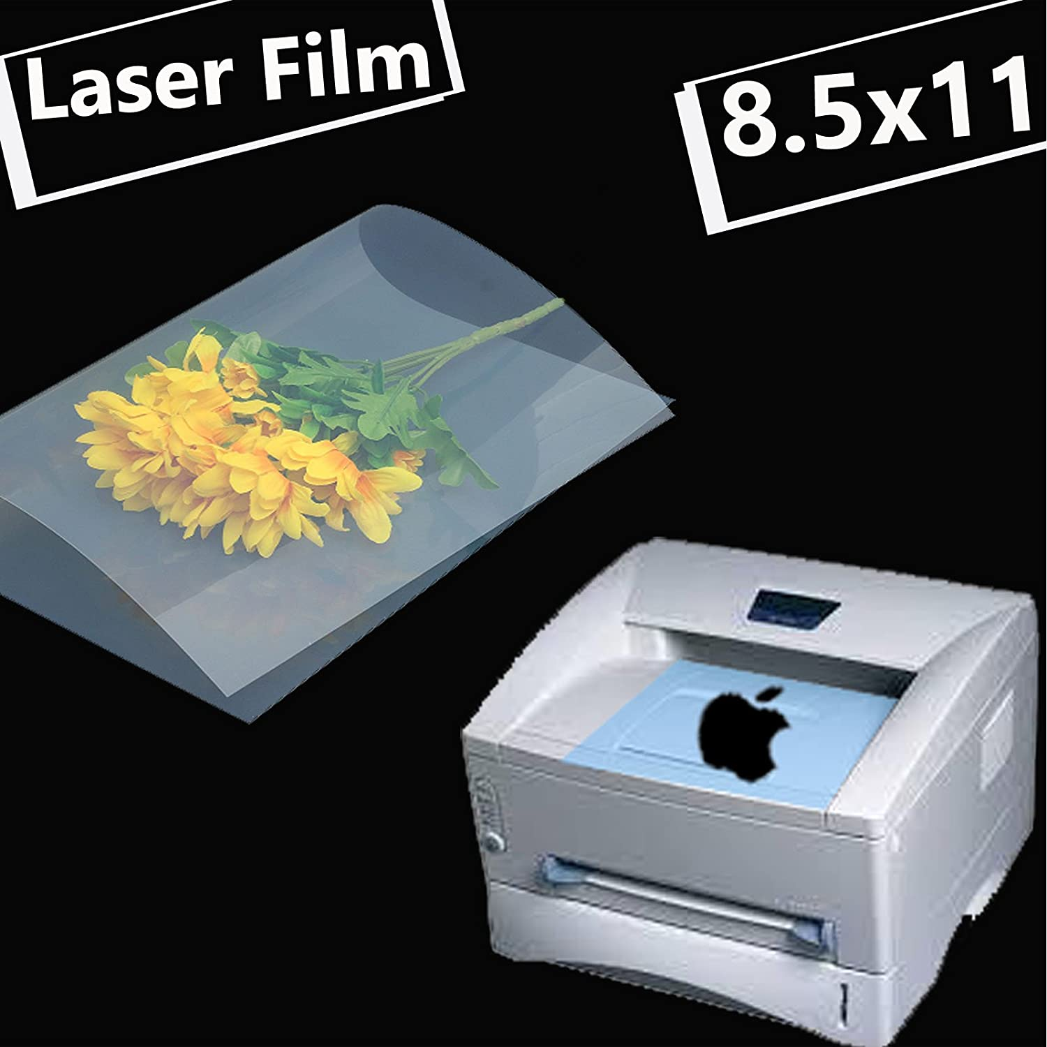 50 Sheets,8.5x11,Laser Printer Printing Transparency Film for Silk Screen Printing for Laser HP, Canon, Brother, Oki, EPSON Printers Tiger-Hoo(Factory Direct) 4336976476