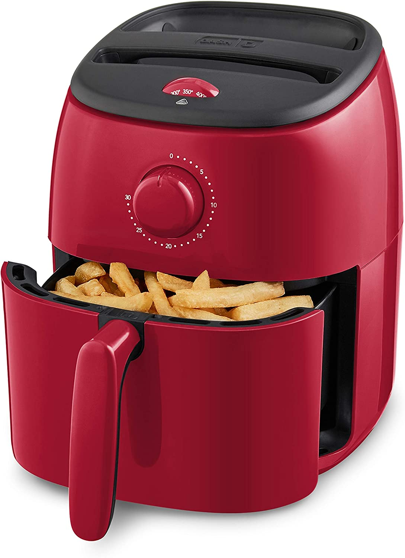 Dash Tasti-Crisp Electric Air Fryer + Oven Cooker with Temperature Control, Non-stick Fry Basket, Recipe Guide + Auto Shut Off Feature, 1000-Watt, 2.6 Quart - Red (Renewed)