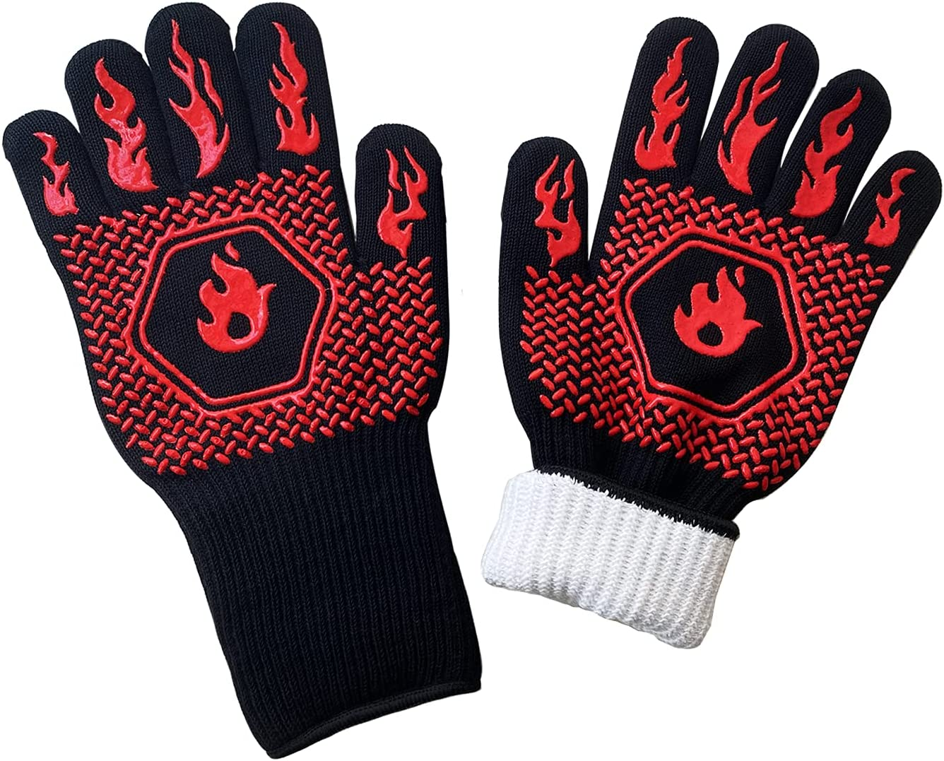 BBQ Gloves,Oven Gloves1472℉ Heat Resistant Grilling Gloves Food Grade Kitchen Grill Gloves, 14 Inch Silicone Non-Slip Cooking Gloves for Barbecue, Cooking, Baking, Welding, Cutting