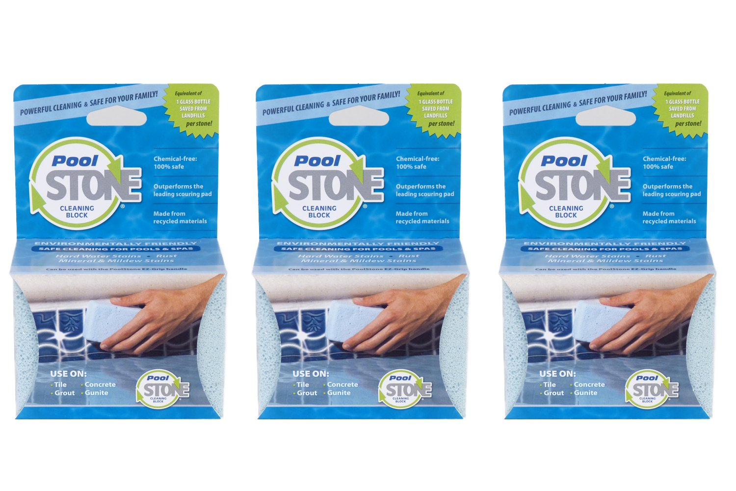 PoolStone Pool and Spa Cleaning Block, 3-Pack