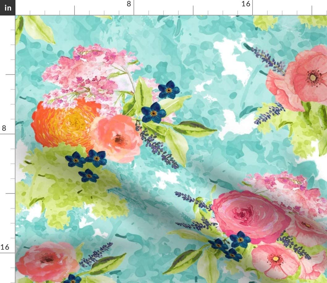 Spoonflower Fabric - Watercolor Floral Flowers Abstract Painterly Blue Modern Nursery Decor Printed on Petal Signature Cotton Fabric by The Yard - Sewing Quilting Apparel Crafts Decor