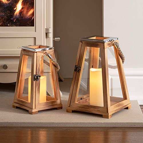 Lights4fun, Inc. 12 Wooden Battery Operated Indoor Flameless LED Candle Lantern