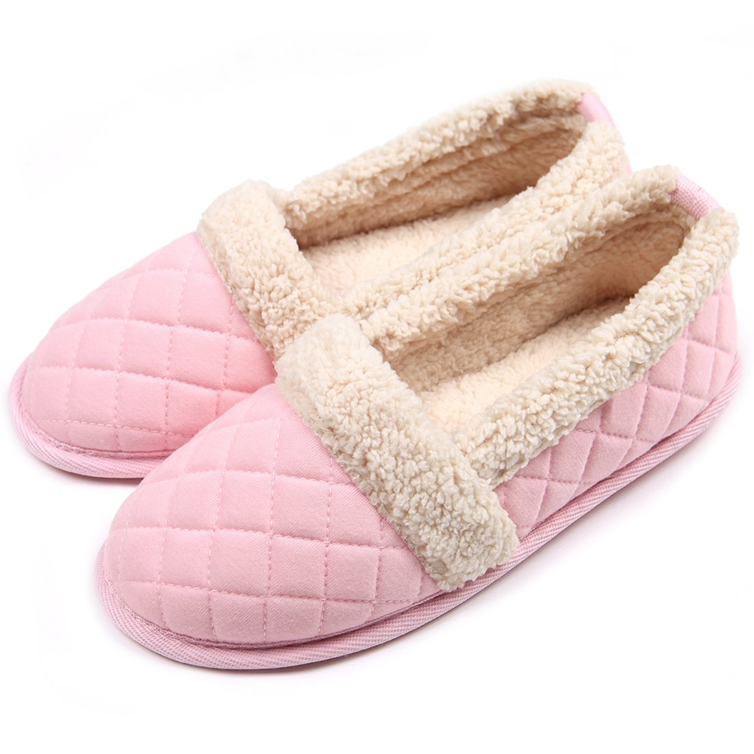 ChicNChic Women Plush House Slippers Ladies Non Slip Indoor Winter Bedroom Shoes Pink 9-10 B(M) US