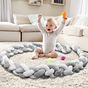 Baby Crib Bumper Knotted Braided Bumper Handmade Soft Newborn Gift Crib Protector (Gray-White, 118 inch) …